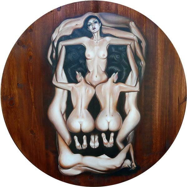 "Crystal Sylver - ""An Ode to Salvador Dali's Human Skull"" Oil on Wood, 36""x36"" circle - 2011"