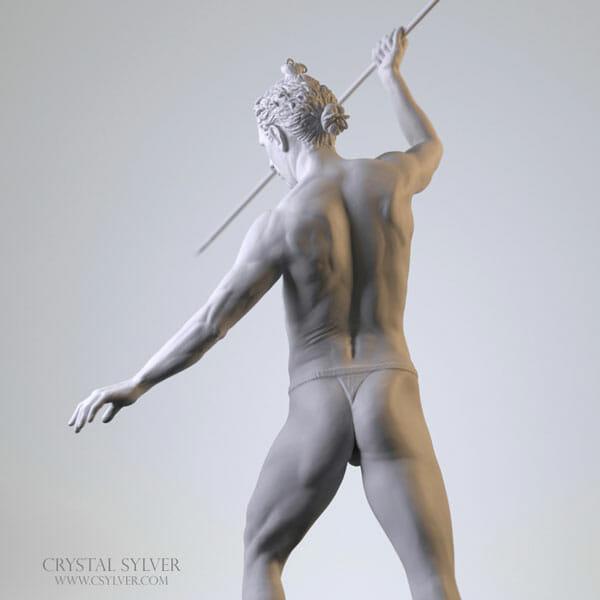 Crystal Sylver - Digital Sculpture (back), made using software ZBrush- 2013