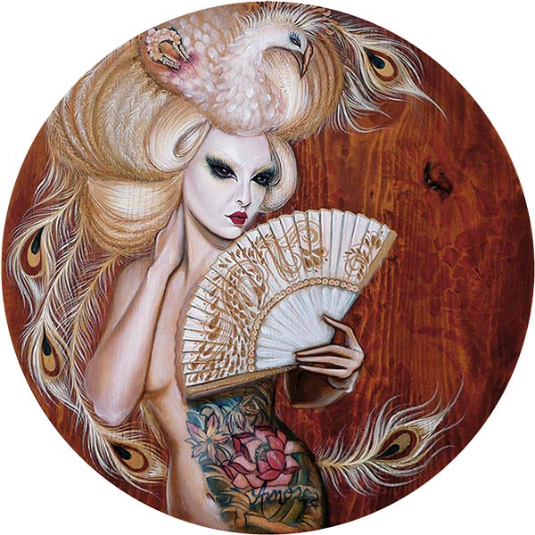 "Crystal Sylver - ""The Geisha of the Albino Phoenix"" Oil on Wood, 18""x18"" circle- 2011"