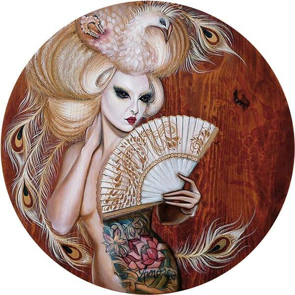 "Crystal Sylver - ""The Geisha of the Albino Phoenix"" Oil on Wood, 18""x18"" circle- 2011"