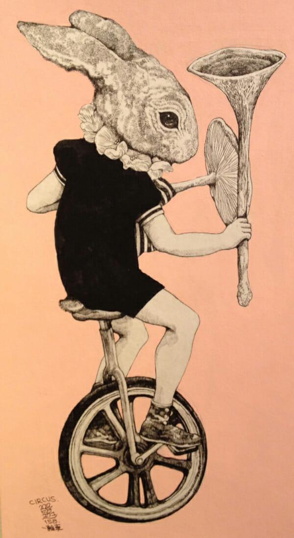 Higuchi Yuko Rabbit Cycle Illustration