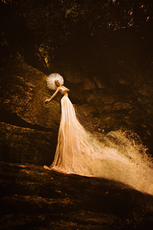 Olga Valeska Fine Art Photography Self Portrait Waterfall girl