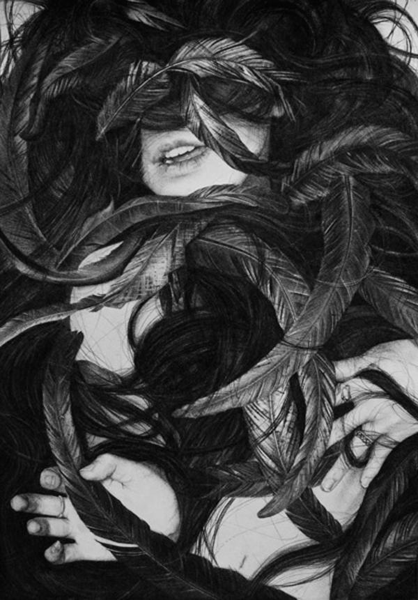 Stephanie Inagaki Murder of Crows Part 2 Drawing Metamorphosis