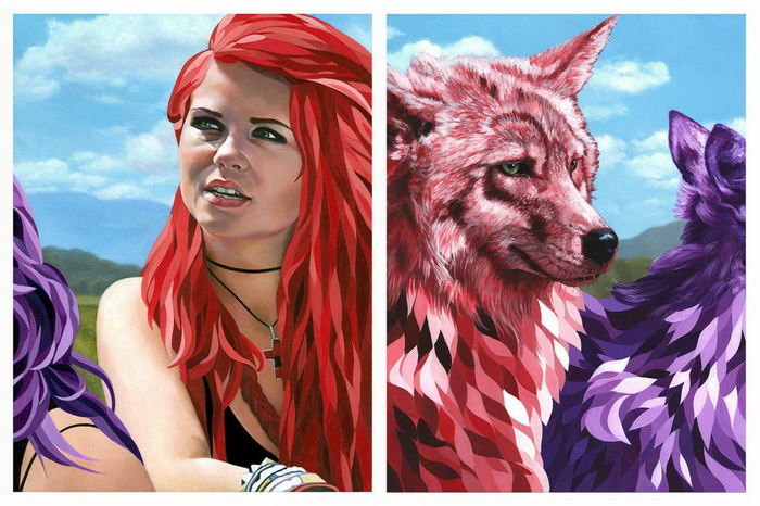 Affinity (Part 2) - Painting Diptych by Johannah O'Donnel - Gauntlet Gallery Exhibition - Beautiful Bizarre
