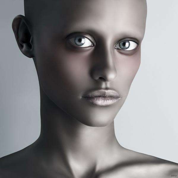 Oleg Dou Digital Art Naked Faces