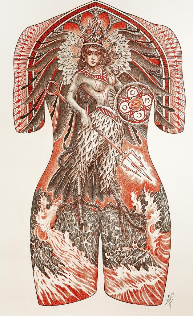 Tattoo project on canvas by Lynn Akura.