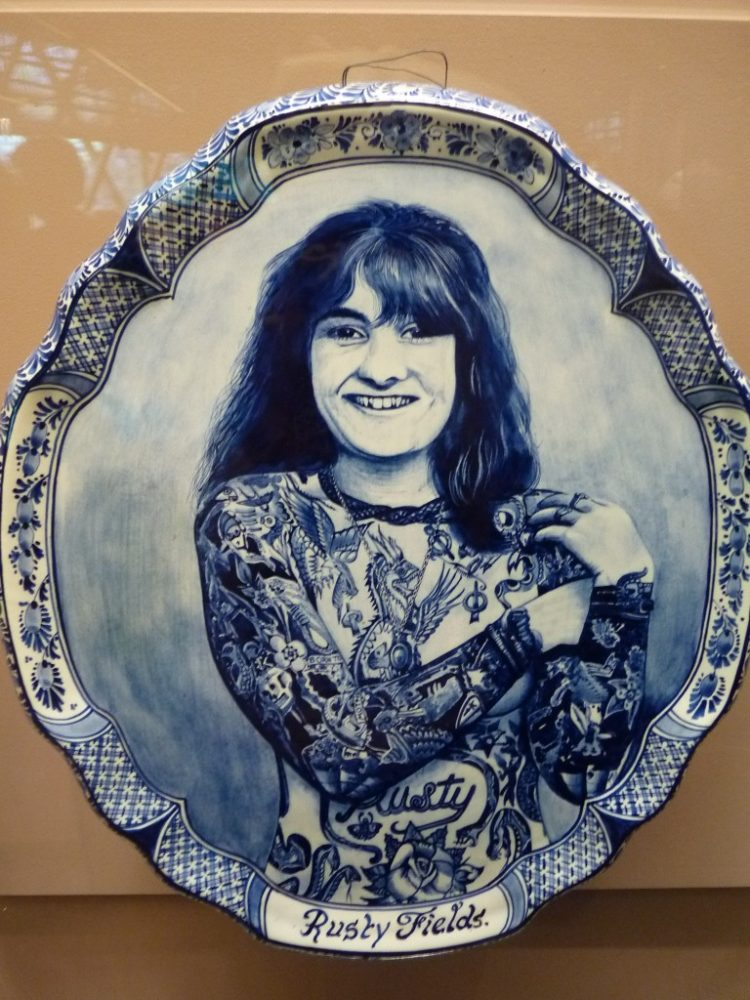 Porcelain Dish with the portrait of Rusty Field, former England's most tattooed woman.