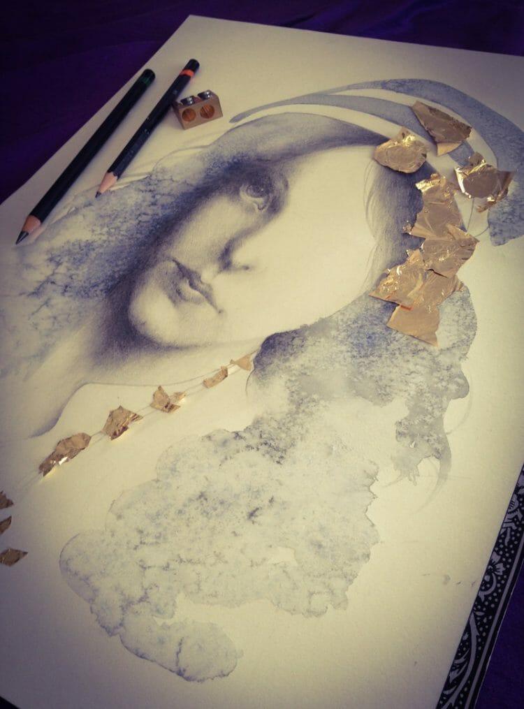 erica calardo illustration - foretold - work in progress - working process