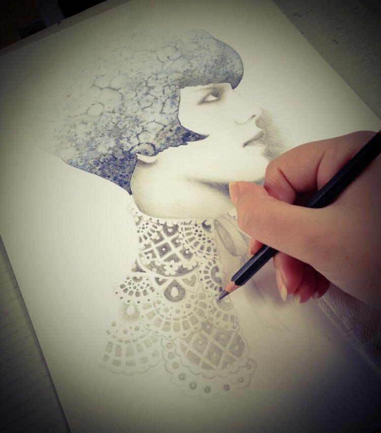 erica calardo illustration - past future - work in progress - working process