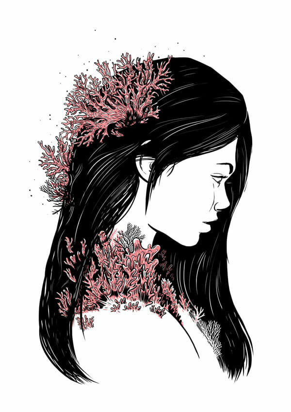 Jade_Klara_The_Witching_Hour_Coral_Girl_Silk_screen_2013_beautifulbizarre