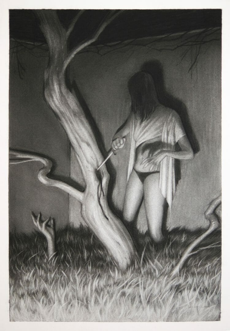 Witch of Branches - A Graphite Illustration by Sam Wolfe Connelly - Lore @ Hashimoto Gallery