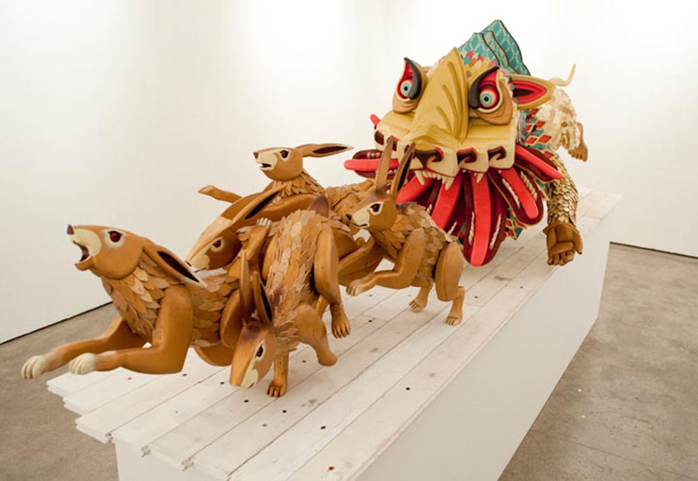 AJ Fosik Creatures Surrealism Sculpture Vibrant Demonic Woodwork Beautiful Bizarre