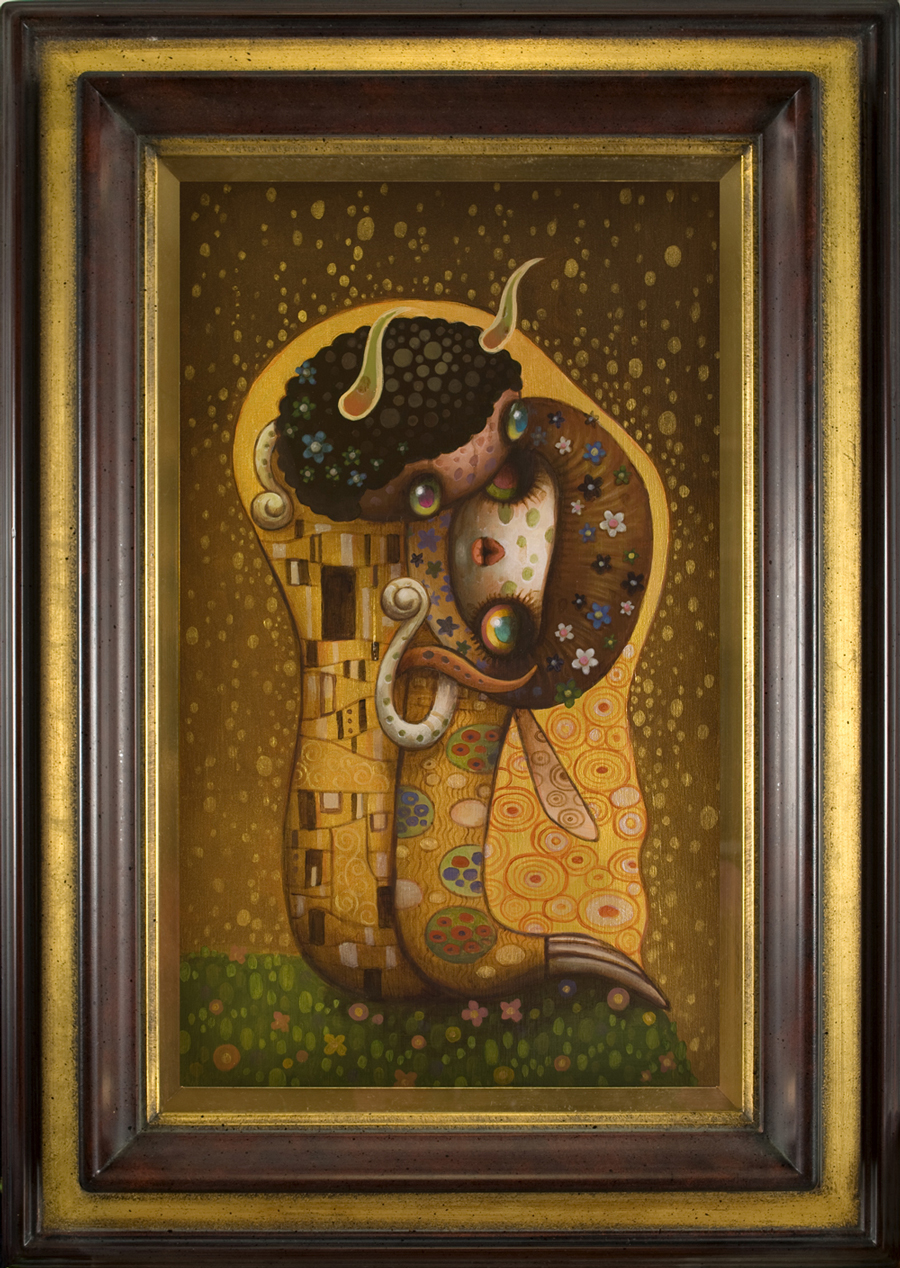 Yoko d'Holbachie - The Kiss - Klimt Tribute - Pop Surrealism Painting