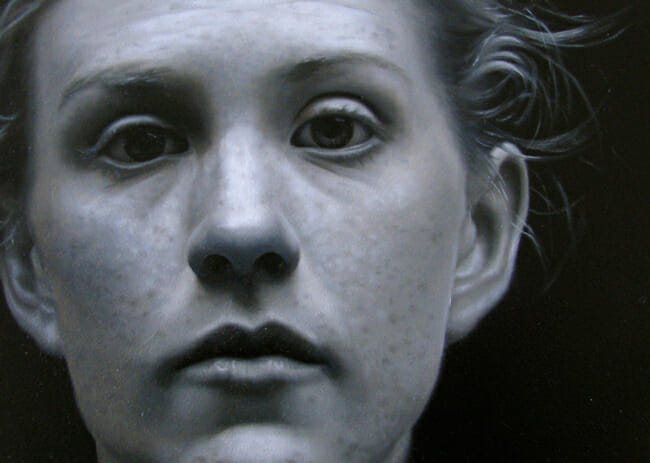 """Grey"" a hyperrealistic painting by Jessie Rebik - A part of Baker + Hesseldenz' portrait show"