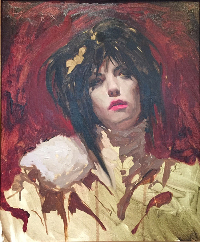 A portrait painting by Michael Hussar - A part of a portraiture art exhibition at Baker + Hesseldenz Fine Art in Tucson, Arizona - Article and more image previews are available via beautiful bizarre