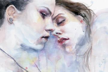 Sensual watercolor portraits by Silvia Pelissero / Agnes Cecile