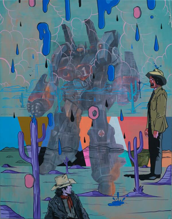 """Waterfight"" by devNgosha @ Merry Karnowsky Gallery"