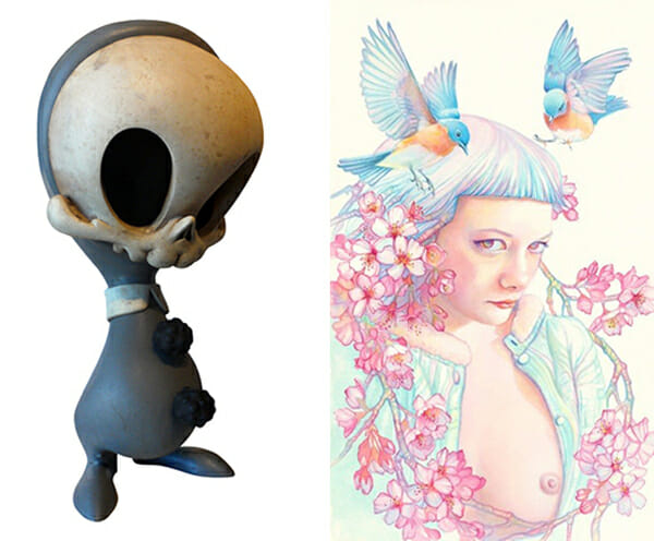(L) Brandt Peters (R) Tracy Lewis @ Baker Hesseldenz - 1st Annual Spring Group Exhibition 2015 - preview by beautiful bizarre art