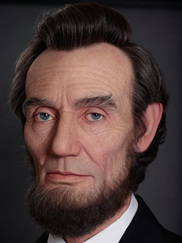 Kazuhiro Tsuji's hyperrealistic three dimensional Abraham Lincoln portrait sculpture - new contemporary art exhibition at Dax Gallery, Costa Mesa, Orange County, OC - preview by beautiful bizarre