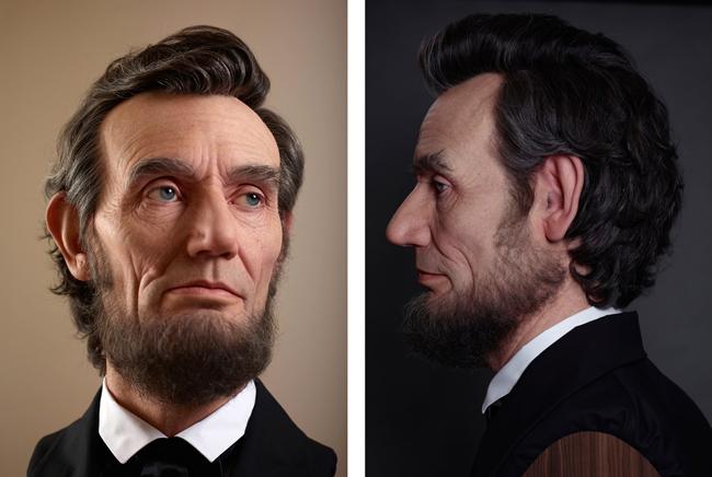 Kazuhiro Tsuji's hyperrealistic three dimensional Abraham Lincoln portrait sculpture - new contemporary art exhibition at Dax Gallery, Costa Mesa, Orange County, OC - preview by beautiful bizarre