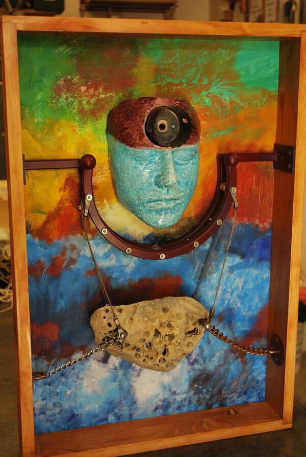 Stone Surgery, Trepanning, Bob Privitt, assemblage, ceramic face