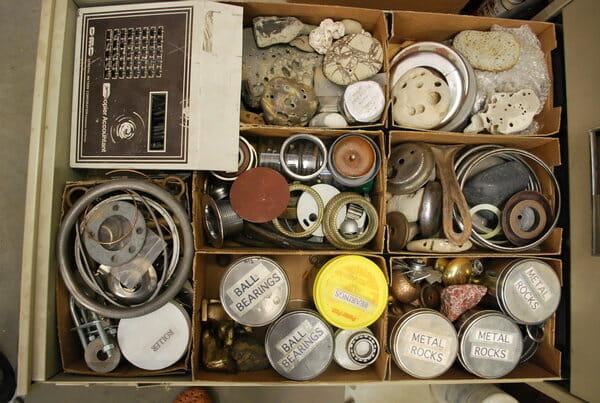 assemblage, organized supplies, art supplies, mixed media