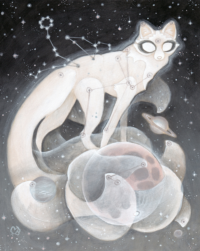 """Moon Guardian by Cory Benharzel - A part of """"Celestial"""" group exhibition at Alexi Era Gallery - preview by Beautiful Bizarre"""