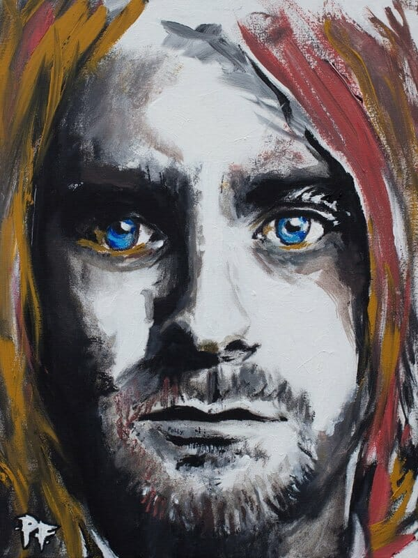curt cobain, patrick fisher, mixed media portrait, gamut