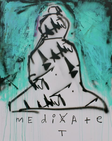 patrick fisher, maditate, dont medicate, mixed media, street art, gamut