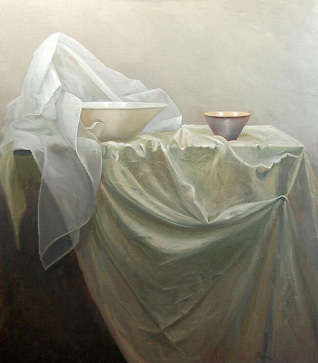 Jessica Watts - Still Life with Linen Cloth | In Search of Light @ 19Karen Contemporary Artspace - via beautiful.bizarre
