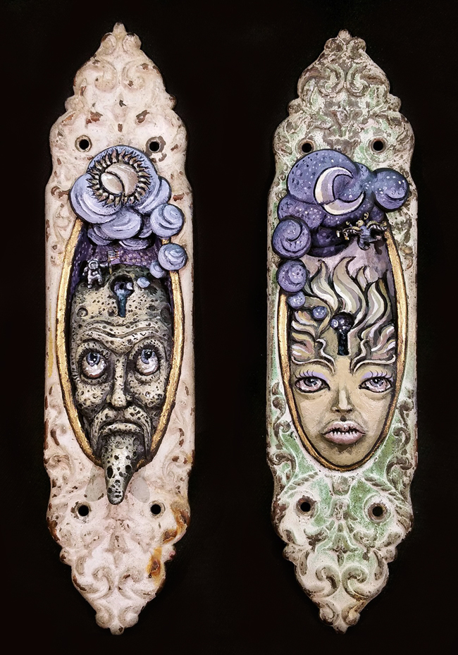 """'Sun' and 'Moon' by Narthan Cartwright - A part of his solo show """"The Elements"""" at Alice and Beanstalks Gallery in Tokyo - beautiful.bizarre"""