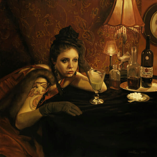 """The Absinthe Drinker and the Hostile Silence"" by Pamela Wilson - Prints on Wood Show @ Distinction Gallery, Escondido"