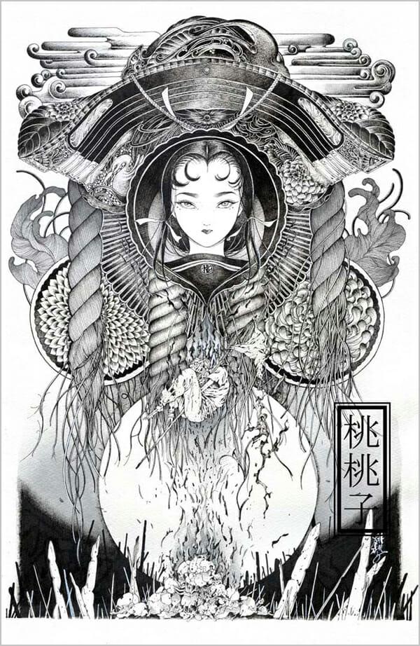 Peach Momoko, 'Hakai to Saisei IV, (Destruction and Regeneration IV)' @ Haven Gallery - via Beautiful Bizarre