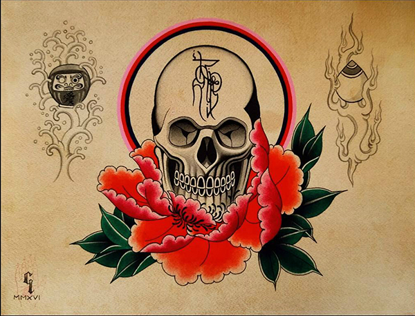 Warriors Fund, Eight of Swords, Carolyn LeBourgeois, tattoo art