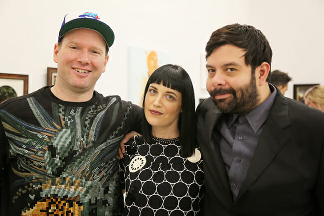(L-R) Artist Nathan James, Curator Caro, and Artist Carlos Ramos"