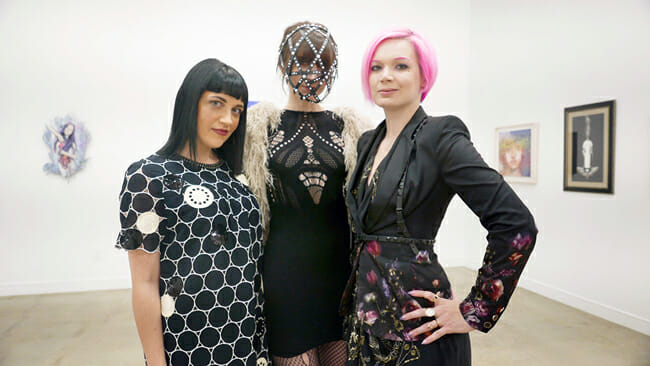 (L-R): Curator Caro, Performance Artist Roxanna Walitzki and Artist Red Walitzki | Below the Surface @ Corey Helford Gallery, LA - via beautiful.bizarre