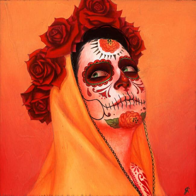 """Catrina, Sol Amarillo"" by Sylvia Ji | Below the Surface @ Corey Helford Gallery, LA - via beautiful.bizarre"