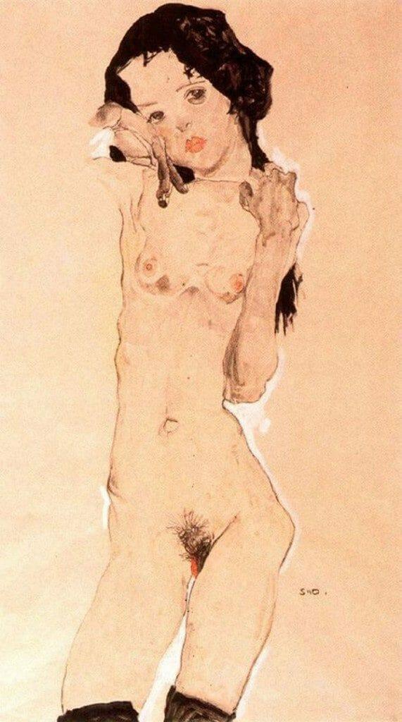 ViverosTO_Black-Haired-Nude-Girl-Standing-Egon-Schiele-1910_beautifulbizarre_02