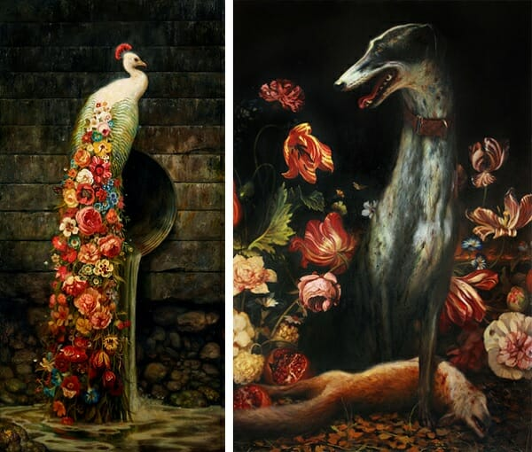 Martin Wittfooth surreal flowers animal paintings
