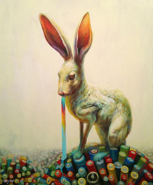 Martin Wittfooth surreal rabbit animal painting
