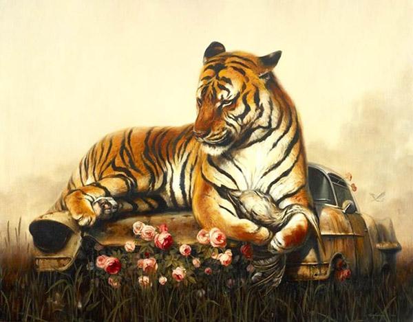 Martin Wittfooth surreal tiger animal painting