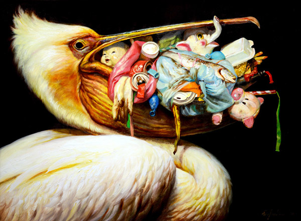 Martin Wittfooth surreal stork baby animal painting
