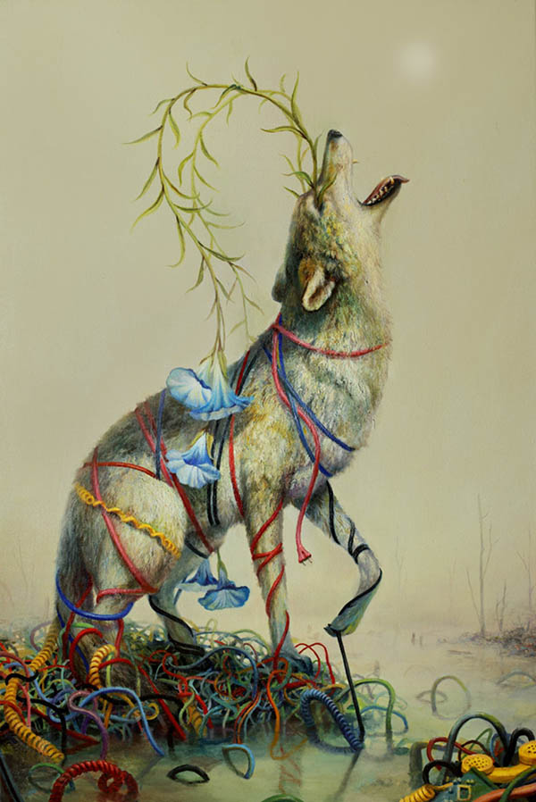 Martin Wittfooth surreal wolf animal painting