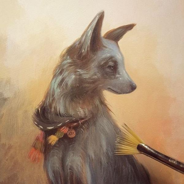 Amy Sol dog painting progress
