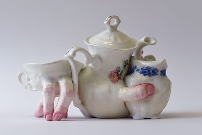 Ronit Baranga surreal hand teapot and cup sculpture