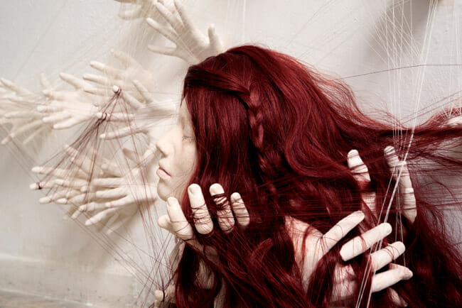 Ronit Baranga surreal hand and hair sculpture