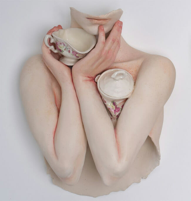 Ronit Baranga surreal bust teacup sculpture
