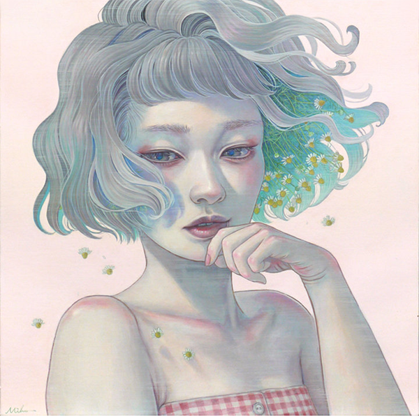 Miho Hirano painting of a grey-haired girl with blowing hair. One side of her hair has flowers springing out.