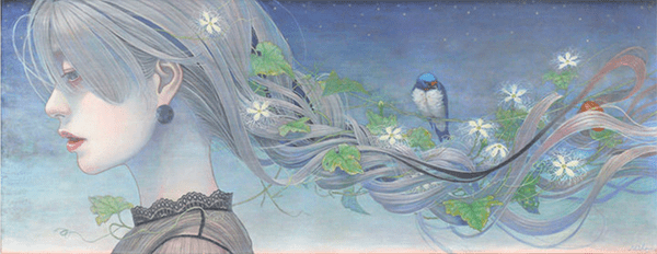 Miho Hirano painting of a girl with braided hair... full of green runners and birds.