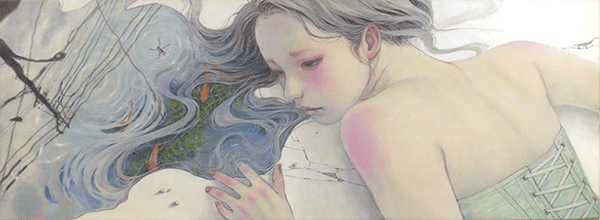 Miho Hirano painting of a fallen girl, with her wet hair turning into a puddle through which you can see fish and a Japanese street.